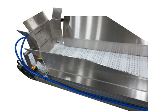 Adjustable in-feed chute guided conveyor
