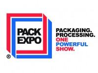 Pack Expo Logo red and blue packaging. processing. one powerful show.